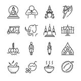 Thailand icon set. Included the icons as Thai greeting, temple, boxing, pagoda, Buddha statue, tom yum kung and more. Line icon vector: Thai icon set. Included Royalty Free Stock Image