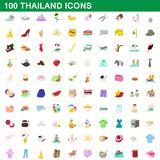 100 thailand icons set, cartoon style. 100 thailand icons set in cartoon style for any design illustration royalty free illustration