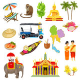 Thailand Icons Set. With elephants coconuts beaches and boats cartoon isolated vector illustration vector illustration