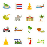Thailand Icons Set. With elephants coconuts beaches and boats flat isolated vector illustration vector illustration