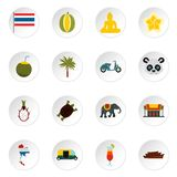 Thailand icons set, flat style. Thailand icons set. Flat illustration of 16 thailand vector icons for web Stock Illustration