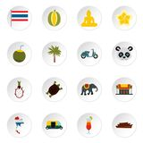 Thailand icons set, flat style. Thailand icons set. Flat illustration of 16 thailand icons for web Royalty Free Illustration