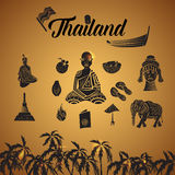 Thailand icons set, simple style Royalty Free Stock Images
