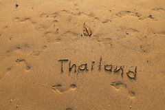 Thailand - inscription on the sea-sand Royalty Free Stock Photo