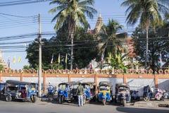 THAILAND ISAN KHORAT WAT SAKAE TUK TUK. The wat sakae temple with tuk tuk parking in front the city Khorat or Nakhon Ratchasima in Isan in Noertheast Thailand Royalty Free Stock Photos
