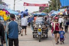THAILAND ISAN PHIMAI LÅNGT FARTYGLOPP Arkivbilder