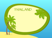 Thailand Island with Palms and Label in Centre Stock Photos