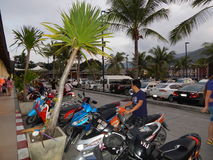Thailand, island, Samui, Parking for mopeds and motorcycles. Thailand, island, Samui, Parking for vehicles near the shopping center Lotus in December 2013 stock image