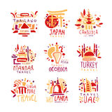 Thailand, Japan, Cambodia, Myanmar, Georgia, Singapore, Turkey, Sri Lanka set of colorful promo signs. Summer travel. Hand drawn vector Illustrations for travel Royalty Free Stock Image