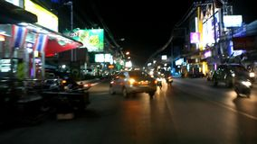 Thailand, 16 july 2014 Motion Thai night street on stock video footage