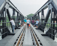 THAILAND,Kanchanaburi: 2015-Sep-19 River kwai bridge train railway Royalty Free Stock Photo