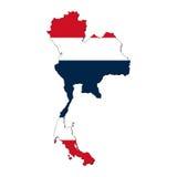 Thailand-Kartenmarkierungsfahne Stockfoto