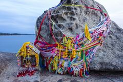 Thailand, Khao Kao Seng, Songkhla. Decorated rock on the beach of Khao Kao Seng in Songkhla, Thailand, Asia Royalty Free Stock Photos