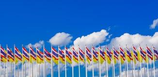 Thailand King Rama IX flag and National flag of Thailand Stock Photo