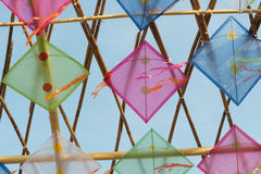 Thailand kites arranged in a pattern Royalty Free Stock Image