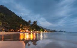 THAILAND, KO CHANG. Beach White Sand Beach, lights restaurants. Royalty Free Stock Photography