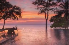 thailand Ko Chang Colori di Chang Buri Resort dell'hotel del tramonto Fotografie Stock