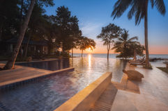 Thailand. Ko Chang. Hotel Chang Buri Resort sunset at the pool Stock Photo