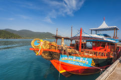 Thailand. Ko Chang. Ship on a mooring about tropical island Royalty Free Stock Photography
