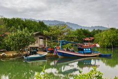 THAILAND, KO CHANG.  Thailand tropical island of Koh Chang. Fisherman's cottage in the mangrove trees. Stock Image