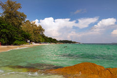 Thailand Koh Samet Beach and Clouds. And Rocky Beach Royalty Free Stock Photo