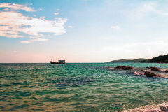 Thailand Koh Samet Old Fashioned boat. And skies Stock Photography