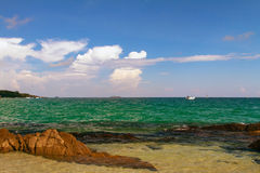 Thailand Koh Samet Rocky Beach Boats and Clouds. Thailand Koh Samet Rocky Beach Boats Yachts and Clouds Royalty Free Stock Photography