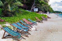 Thailand Koh Samet Sandy Beach Sunbeds Line. With Trees Royalty Free Stock Image