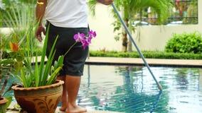 Thailand, Koh Samui, 2 december 2015. Worker man clean a swimming pool in resort. 3840x2160, 4k stock video