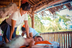 Thailand, Koh Samui, 4 january 2016. Day in beach spa. Thai woman doing massage Royalty Free Stock Images