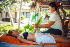 Thailand, Koh Samui, 4 january 2016. Day in beach spa. Thai woman doing massage Royalty Free Stock Image