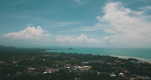 Thailand Koh Samui Nature Sea Sand Blue Freedom. Tropical Palms Forest Mountains Landscapes stock footage