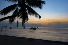 Sunset in the bay of koh tao. Thailand koh tao islands, sunset in the bay of koh tao Stock Photos