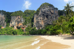 THAILAND KRABI. The Hat Tom Sai Beach at Railay near Ao Nang outside of the City of Krabi on the Andaman Sea in the south of Thailand Stock Photos