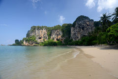 THAILAND KRABI. The Hat Tom Sai Beach at Railay near Ao Nang outside of the City of Krabi on the Andaman Sea in the south of Thailand Stock Images