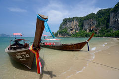 THAILAND KRABI. The Hat Tom Sai Beach at Railay near Ao Nang outside of the City of Krabi on the Andaman Sea in the south of Thailand Royalty Free Stock Photo