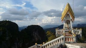 Thailand krabi tiger cave temple. Tiger cave temple ( Wat suea)  krabi town Thailand. There's a climb of 1260 steep steps to get the shrine at the top mountain Stock Image