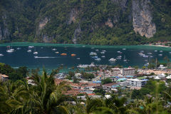 THAILAND KRABI. The view from the Viewpoint on the Town of Ko PhiPhi on Ko Phi Phi Island outside of the City of Krabi on the Andaman Sea in the south of Royalty Free Stock Photos