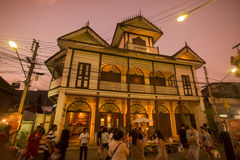 THAILAND LAMPANG CITY OLD TOWN WOODHOUSE. The old woodhouse Mong Ngoauy Sin Building in the old town of the city of Lampang in North Thailand Stock Image