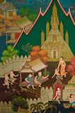 Thailand, Land of Buddhism (300 years old). Mural painting of Thai old lifestyle 300 years ago. Buddhism is the center of culture. Temples are build in royal Stock Photos