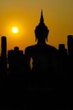 Thailand landmark. Ancient buddha statue. Sukhothai Historical, silhouette Stock Image