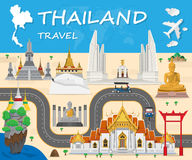 Thailand Landmark Global Travel And Journey Infographic backgrou Royalty Free Stock Photos