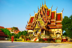 Thailand Landmark. Wat Phra Yai Temple Sunset. Travel, Tourism. Royalty Free Stock Photography