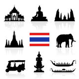 Thailand Landmarks Icon Set. Stock Images