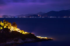 Thailand Landscape. Island At Night, Beach Lights. Nightlife, Ni Stock Photography