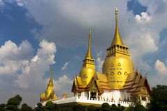 Thailand 2017, Landscape,Thai temple,three, Big pagoda Church, on sky background,. Thailand 2017 Landscape,Thai temple three Big pagoda Church on sky background stock photos