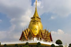 Thailand 2017, Landscape,Thai temple,Two, Big pagoda Church, on sky background.  royalty free stock photos