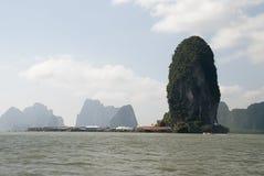 Thailand landskap som svävar byn royaltyfri fotografi