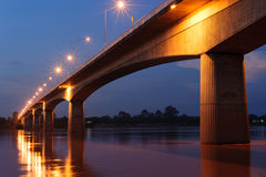 Thailand or Laos Friendship Bridge. At night Royalty Free Stock Image