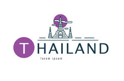 Thailand logo. Scene of  Wat Arun. Bangkok famous Landmark. flat. Line design element. vector illustration Stock Photography